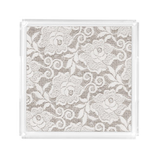 Rose Flower White Lace Tan Burlap Shabby Chic Tray