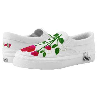 Rose flower with stem slide on sneakers