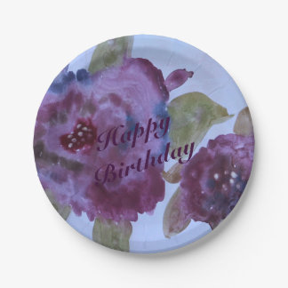 Rose Flowered Purple Paper Plates 7 Inch Paper Plate