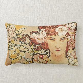 Rose Flowers Art Nouveau Alphonse Mucha Lumbar Pillow