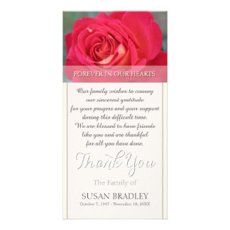 Rose Forever in Our Hearts Sympathy Thank You Card