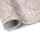 Rose Foxier Metallic Damask Gold Wood Pink Wrapping Paper