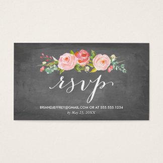 Rose Garden Floral Chalkboard Wedding Email RSVP Business Card