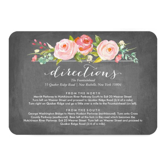 Rose Garden Floral Directions Wedding Card