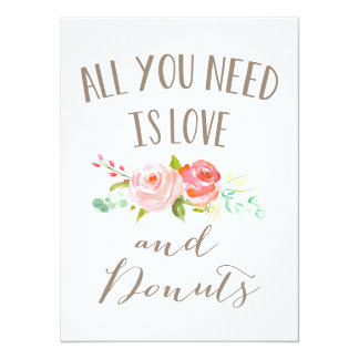 Rose Garden Floral Love and Donuts Card