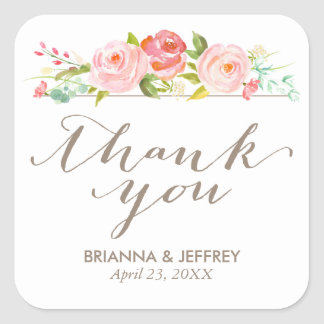 Rose Garden Floral Wedding Favor Labels Square Square Sticker