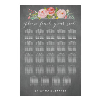 Rose Garden Floral Wedding Seating Chart Poster