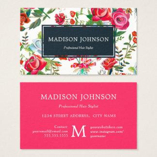 Rose Garden pink Monogram Custom   Business Cards