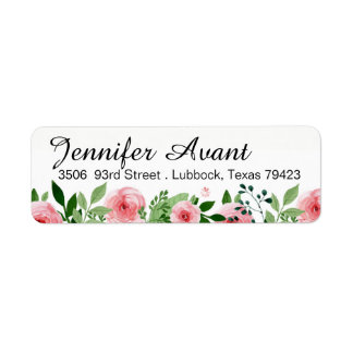 Rose Garden Watercolor Flowers Return Address Label