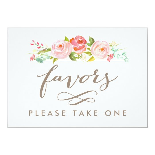 Rose Garden Wedding Favours Please Take One Print Card
