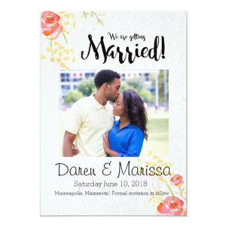 "Rose Garden Wedding Save the Date 5"" X 7"" Invitation Card"