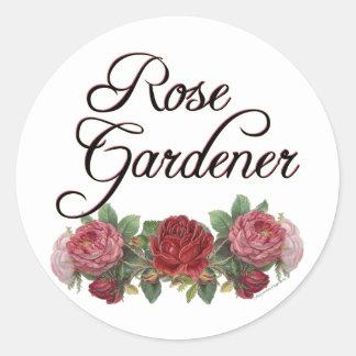 Rose Gardener Saying with Roses Round Sticker