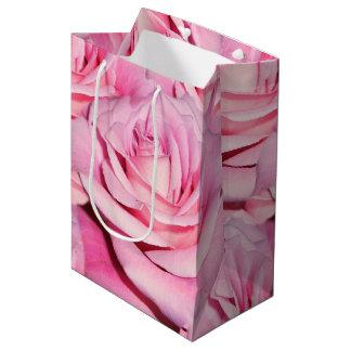 Rose gift bag, pink gift bag, shower gift bag
