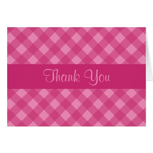 Rose Gingham Thank You Card