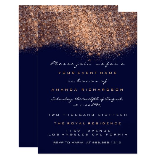 Rose Glitter Copper Blue Navy Formal Invitation