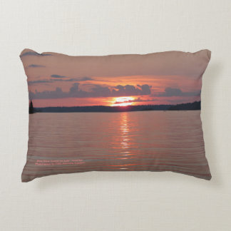 Rose Glow Sunset On Lake Vermilion h-throw Accent Pillow