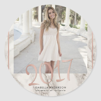 Rose Gold 2017 & Typography on Marble | Grad Photo Classic Round Sticker