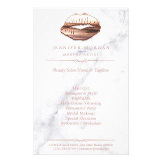 Rose Gold 3D Lips Marble Texture Beauty Salon Flyer