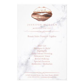 Rose Gold 3D Lips Marble Texture Beauty Salon Full Color Flyer