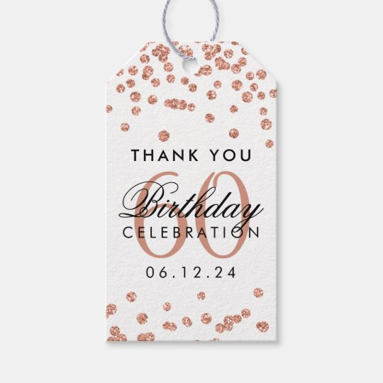 Rose Gold 60th Birthday Thank You Glitter Confetti Gift