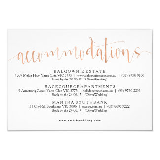 Rose Gold Accommodations Info Card