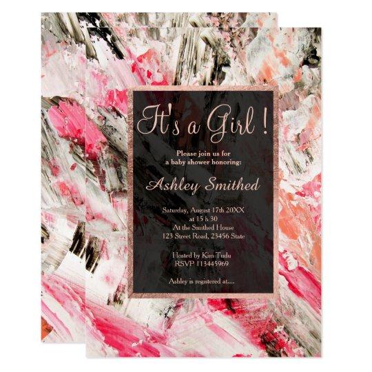 Rose gold acrylic brushstrokes girl baby shower card