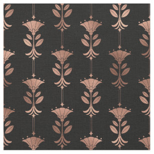 Rose Gold and Black Art Deco Abstract Floral Fabric