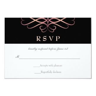 Rose Gold and Black, Elegant Flourishes Wedding Card