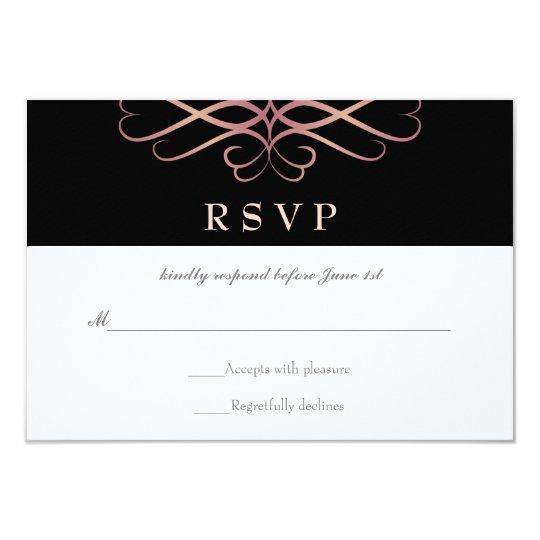 Rose Gold and Black, Elegant Flourishes Wedding Card
