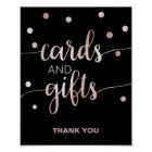 Rose Gold and Black | Glam Confetti Cards & Gifts Poster