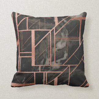 Rose gold and black marble pillow