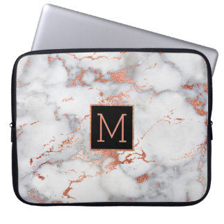 rose gold and black monogram on marble laptop sleeve