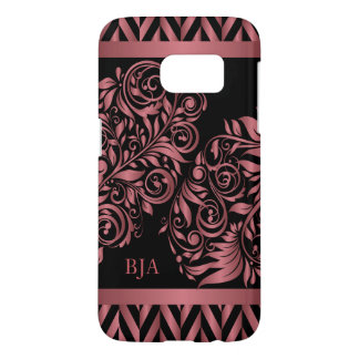 Rose Gold and Black | Monogram Samsung Galaxy S7 Case