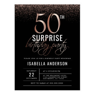 Rose Gold and Black Surprise 50th Birthday Party Postcard