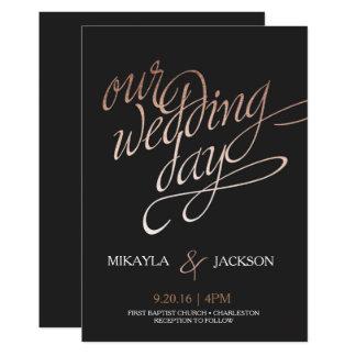 Rose Gold and Black Wedding Invitation