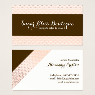 Rose Gold and Brown Bakery Business Card