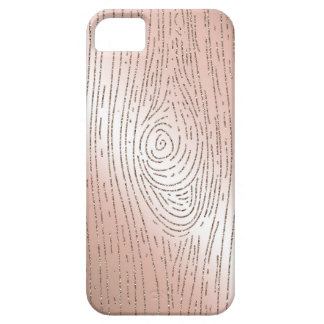 Rose gold and glitter faux bois phone case iPhone 5 cover