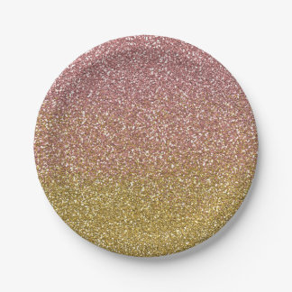 Rose Gold and Gold Glitter Paper Plates