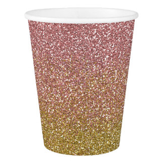 Rose Gold and Gold Glitter Party Cups