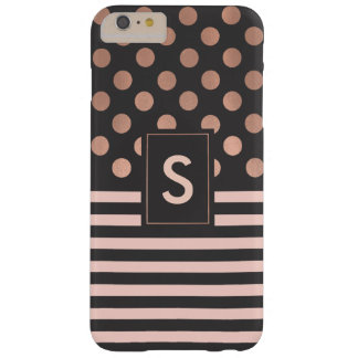 Rose Gold and Gray Monogrammed iPhone 6 Plus case