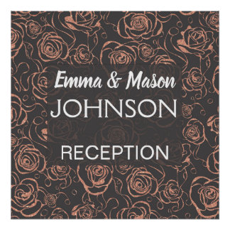 Rose Gold and Gray Wedding Reception Poster