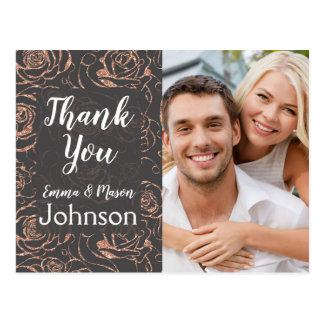 Rose Gold and Gray Wedding Thank You Postcard