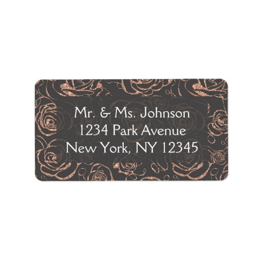 Rose Gold and Grey Wedding Address Lables Label