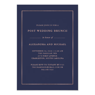 Rose Gold and Midnight Blue | Post Wedding Brunch Card