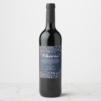 Rose Gold and Navy Blue | Baby's Breath Elegant Wine Label