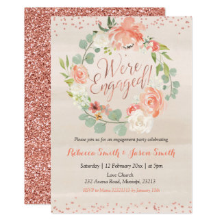 Rose Gold and peach floral Engagement Invitation