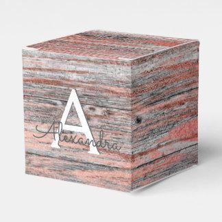 Rose Gold and Rustic Wood Monogram & Initial Favor Box