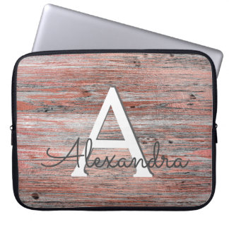 Rose Gold and Rustic Wood Monogram & Initial Laptop Sleeve