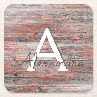 Rose Gold and Rustic Wood Monogram & Initial Square Paper Coaster