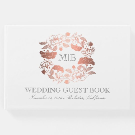 Rose Gold and White Floral Wreath Elegant Wedding Guest Book
